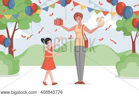Happy Little Girl In Dress Celebrating Birthday Outdoor In Decorated Park Or Forest Vector Flat Illu