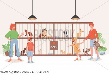 Pet Shelter Or Animal Shop Vector Flat Illustration. Family Choosing Domestic Pet To Buy Or Shelter