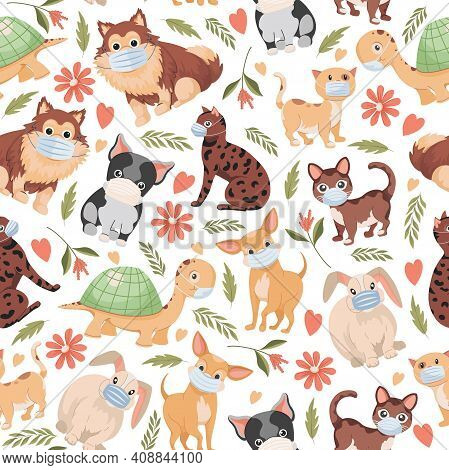 Domestic Pets Vector Flat Seamless Pattern Isolated On White Background. Cute Little Dogs, Cats, Rab