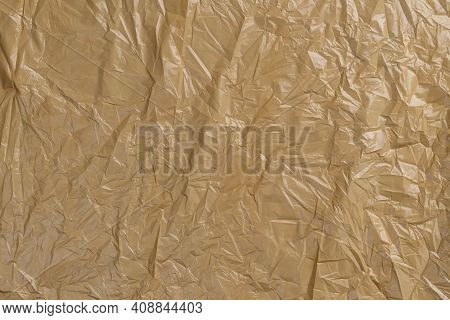 Plastic Crumpled Wrinkled Disposable Trash Bag. Abstract Background