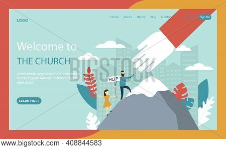 Webpage Vector Illustration In Flat Cartoon Style. Website Interface Composition With Blue Backgroun