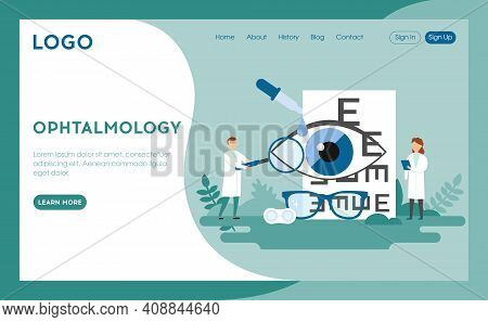 Ophthalmology Clinic Advertisement Concept Illustration In Cartoon Flat Style. Blue Background With