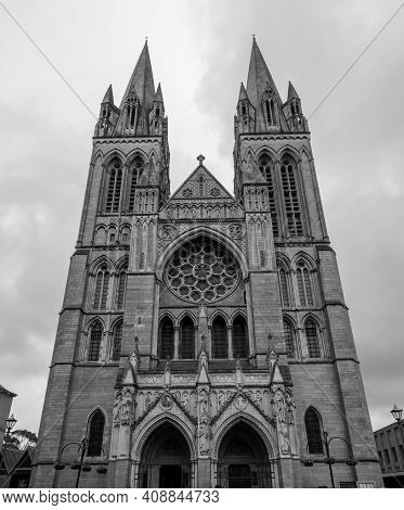 Truro.cornwall.united Kingdom.february 20th 2020.view Of The Front Of Truro Cathedral In Cornwall