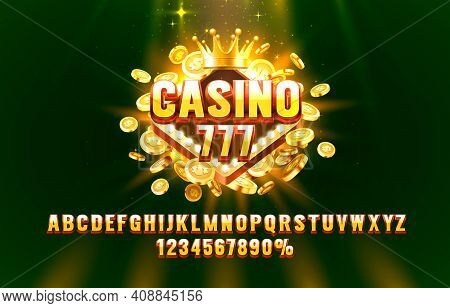 Casino 777 Font Set Collection, Letters And Numbers Symbol. Vector