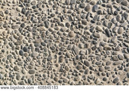 Sea Pebbles. Background Of Pebbles. Multi-colored Pebbles. Wall And Floor Decoration