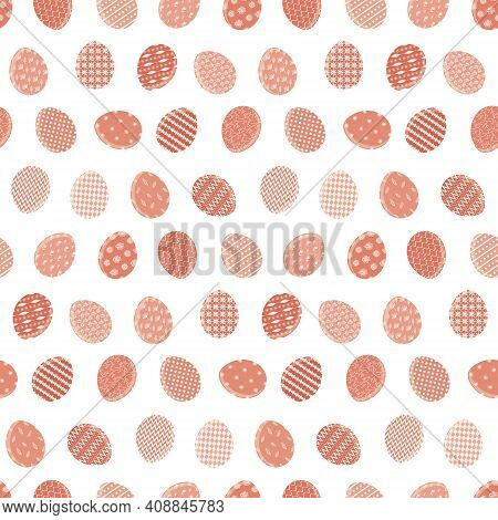Cute Happy Easter Seamless Pattern With Red Color Eggs On White Background. Bright Terra Cotta Ornat