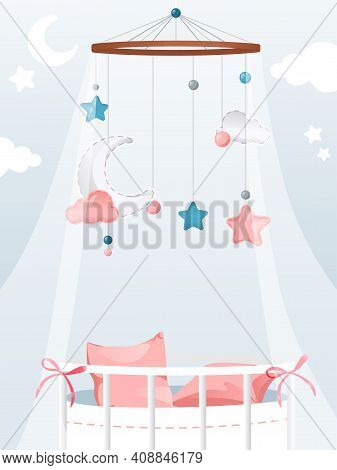 Vector Illustration In Flat Cartoon Style With Gradients And Elements. Cosy Colourful Composition On
