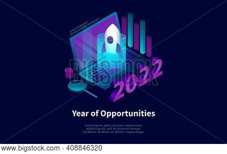 Vector Illustration On Dark Background With Writings And Infographics. Isometric Composition In Cart