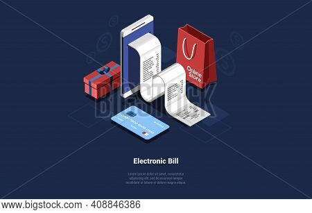 Illustration Of Electronic Bill. Vector Composition In Cartoon 3d Style. Isometric Design On Dark Ba