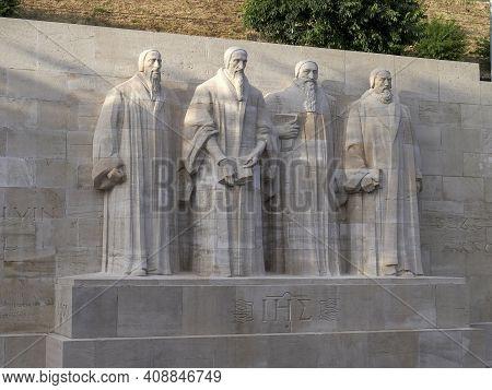Geneva, Switzerland - June, 7, 2019: Wide Shot Of The Reformers Statues In Geneva