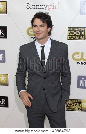 LOS ANGELES - JAN 9:  Ian Somerhalder arrives at the 18th Annual Critics' Choice Movie Awards at Barker Hangar on January 9, 2013 in Santa Monica, CA