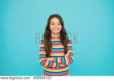 Nice Time To Be Child. Kid Fashion. Smiling School Girl. Kid Long Hair. Happy Child. Happy Childrens