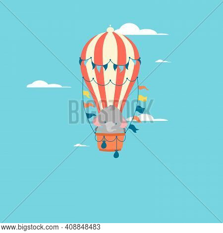 Poster With Little Elephant Vector Prints, Kids And Baby T-shirts And Wear. Elephant Flying Balloon