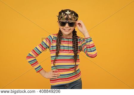 Fashion Party. Happy Child Wear Prop Glasses And Crown. Party Photobooth. Party Girl Celebrate Yello