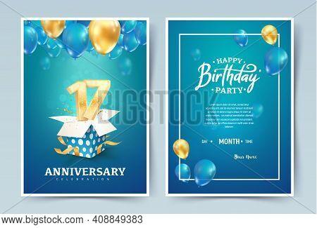 17th Years Birthday Vector Invitation Double Card. Seventeen Years Anniversary Celebration Brochure.