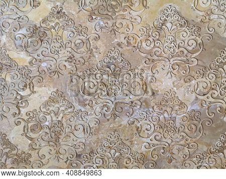 Digital Tiles Design. 3d Rendering Colorful Ceramic Wall And Floor Tiles Decoration.