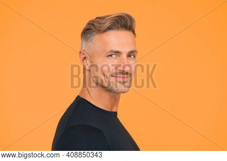 Handsome Unshaven Man. Mature Macho Man Yellow Background. Male Hairstyle Fashion. Skin Facial Care.