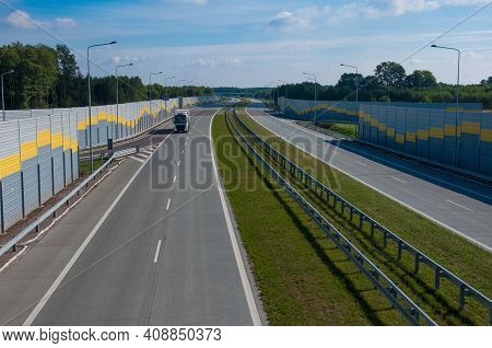 Empty Road Expressway Highway Speed Truck In Distance