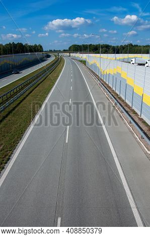 Empty Road Expressway Highway Speed With Side Metal Fence