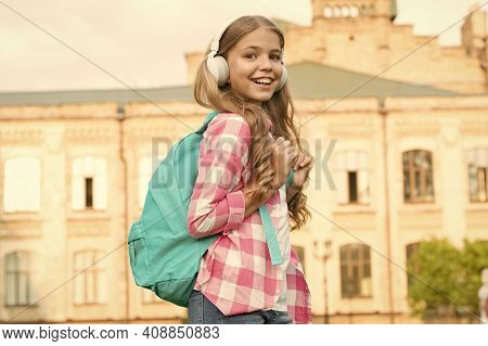 Educational Podcast. Girl Headphones Listening Music. Kid Girl Enjoy Music. Pleasant Time. Child Hea