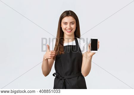 Grocery Store Employees, Small Business And Coffee Shops Concept. Satisfied Cute Friendly-looking Ba