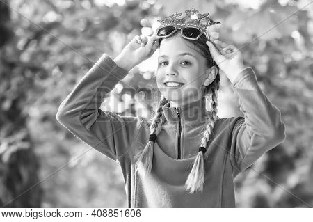 Girl Wear Fleece Jumper For Active Leisure Nature Background, Sunny Day Concept.