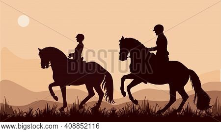 Isolated Realistic Black Silhouettes Of Two Riders, Sports, Romantic Walk