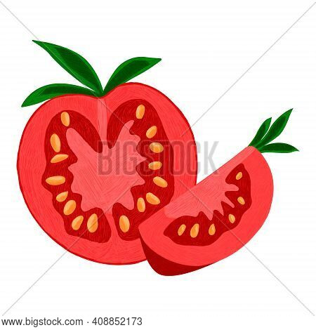 Vector Isolated Illustration With Set Tomatoes In Different States. There Are Sliced, Whole Vegetabl
