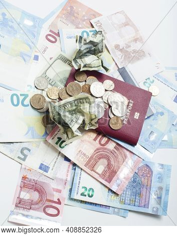 Cash On Table Isolated: Dollars, Euro, Rubl Broken Money. All In Mess, Global Crisis . Passport Trav