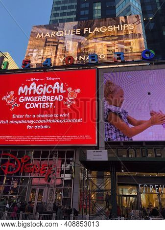 New York, Ny - Dec 26: Times Square, Featured With Broadway Theaters And Animated Led Signs, In Manh