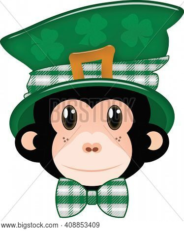 Monkey Leprechaun Kid Friendly Saitn Patricks Day Illustration with Clipping Path over White