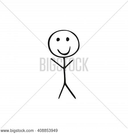 A Child's Drawing Of A Person From Lines On A White Background. A Simple Child's Drawing Of A Human