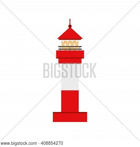 Beautiful Red Lighthouse. Children's Cartoon Vector Illustration. The Icon Of The Lighthouse. Design