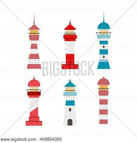 Drawing Of A Lighthouse On A White Background. Vector Set On The Theme Of The Lighthouse, Sea, Navig