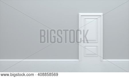 White Closed Door. Frame On White Wall In The Empty Room. Interior Design Element. Design Template F