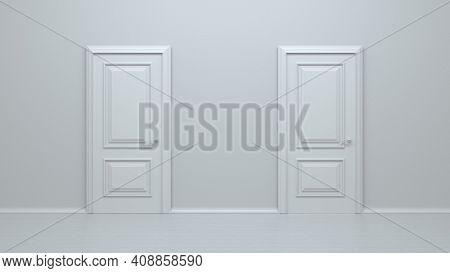 Two Closed White Realistic Entrance Doors On A White Background. Choice, Business And Success Concep