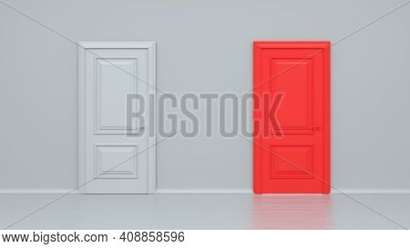 Closed White And Red Entrance Realistic Door Isolated On White Background. Choice, Business And Succ