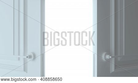 Double Open White Door On White Background. Front View. Empty Room Interior. Choice, Business And Su