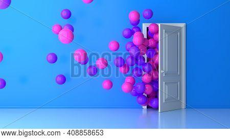 Colorful Bouquet Of Pink Purple Birthday Balloons Flying For Parties And Celebrations With Message S