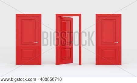 Two Closed Red Doors And One Open Door Isolated On A White Background. Creative Glamorous Minimal St