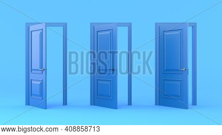Three Open Blue Doors On A Pastel Blue Background. Different Stages Of Opening. Entrance And Doorway