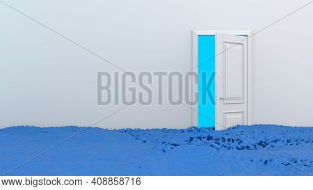 Bright Colorful Blue Water Or Paint Flows Into The Room From The Opening White Door. Streams Of Liqu