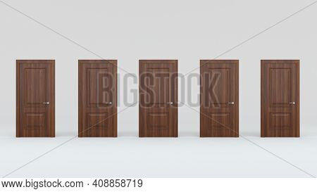 Five Closed Brown Wooden Doors Isolated On Gray Background. Creative Glamorous Minimal Style. 3D Ren