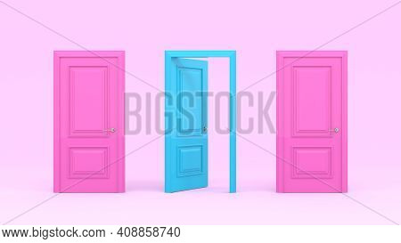 Two Closed Pink Doors And One Turquoise Open Door On A Pastel Pink Background. Creative Glamorous Mi