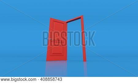 Open Red Door On Blue Background