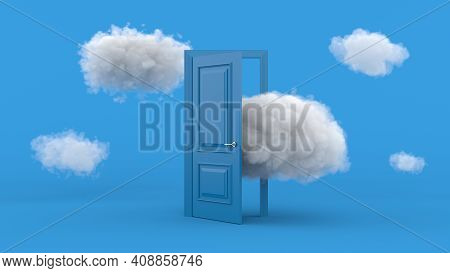 White Clouds Going Through, Flying Out, Open Blue Door, Objects Isolated On Bright Blue Background.
