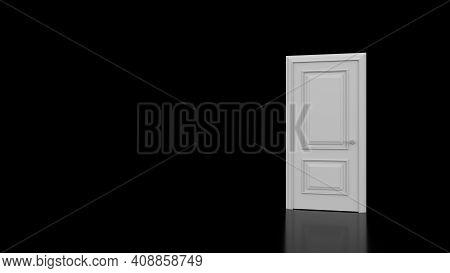 White Door In A Dark Room Opens. 3D Render