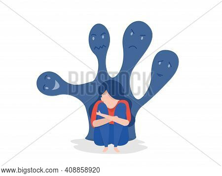 Woman With Psychiatric Illness Mental Disorders Paranoia Vector