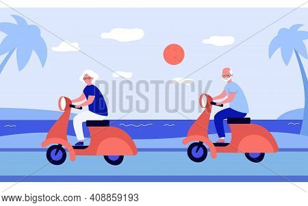 Cheerful Grandparents Riding On Scooters. Bike, Sea, Holiday Flat Vector Illustration. Weekend And R