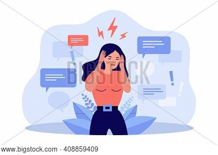 Sad Woman Covering Ears With Hands To Stop Disinformation Isolated Flat Vector Illustration. Cartoon